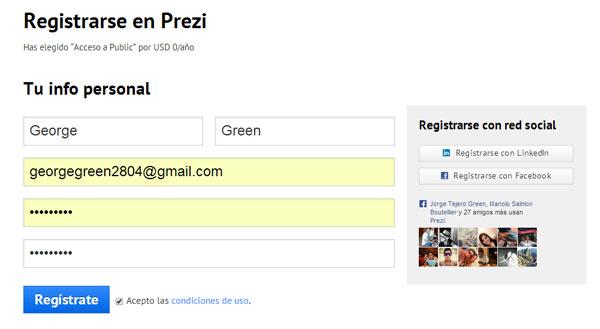 Registrate en Prezi